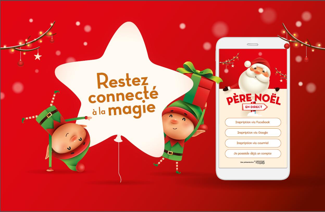 Visuel officiel de la campagne Connecté par Magie / Père Noël en direct - lutins joyeux avec téléphone mobile montrant la plateforme de prise de rendez-vous en ligne